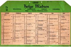 Julsøvej 28. Købmand Helge Madsen. Kalender 1963. På det tidspunkt har Linnebjerg overtaget forretningen